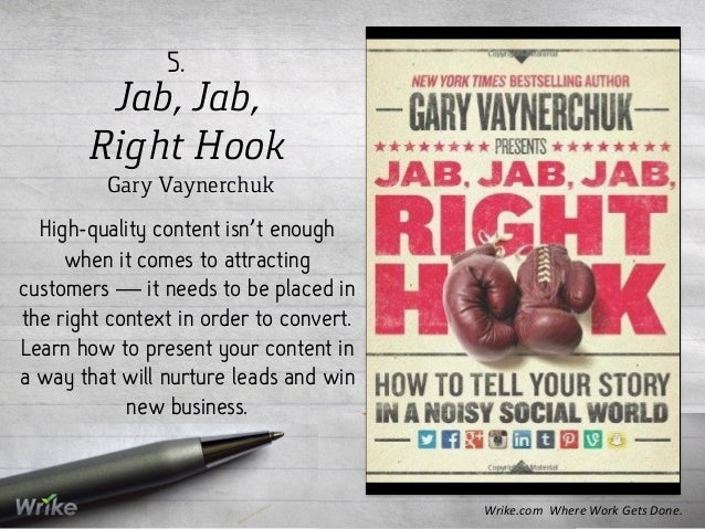 Jab, Jab, Right Hook Gary Vaynerchuk 5. High-quality content isn't enough when it comes to attracting customers — it needs...