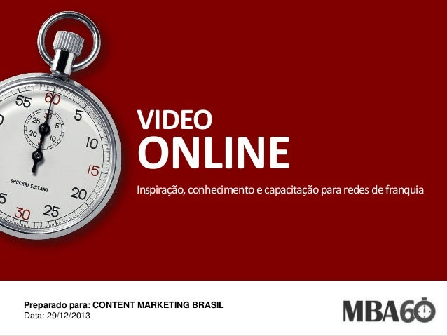 VIDEO  ONLINE Inspiração, conhecimento e capacitação para redes de franquia  Preparado para: CONTENT MARKETING BRASIL Data...