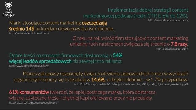 Implementacja dobrej strategii contentmarketingowej podwaja średni CTR (z6% do12%). http://www.stateofinbound.com/  Marki ...