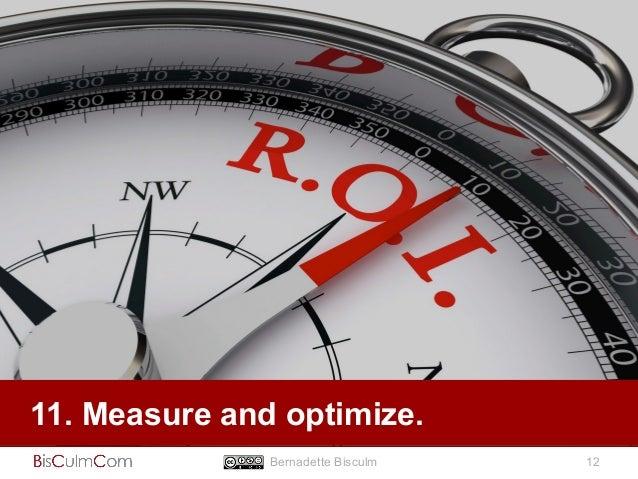 11. Measure and optimize.  Bernadette Bisculm 12