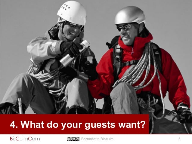 4. What do your guests want?  Bernadette Bisculm 5