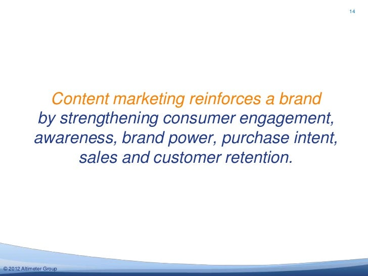 14              Content marketing reinforces a brand            by strengthening consumer engagement,            awareness...