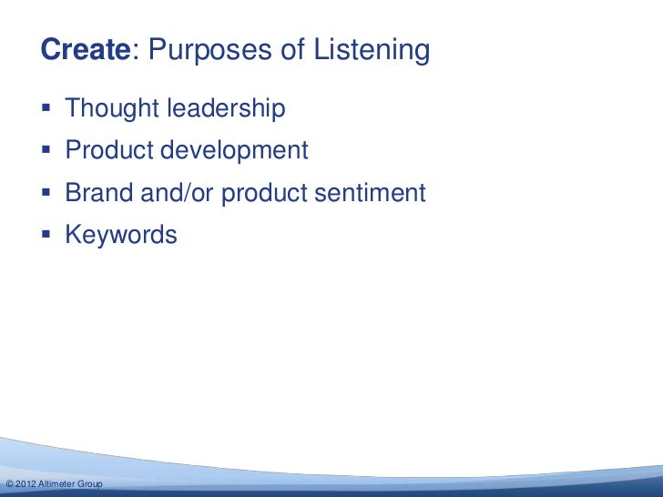Create: Purposes of Listening        Thought leadership        Product development        Brand and/or product sentimen...