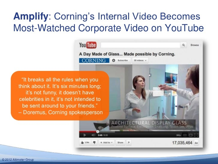 """Amplify: Corning""""s Internal Video Becomes       Most-Watched Corporate Video on YouTube            """"It breaks all the rule..."""