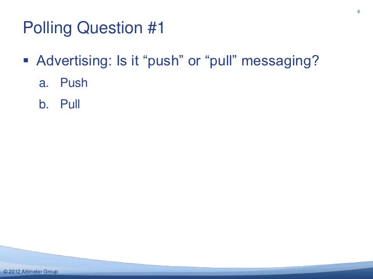 """4       Polling Question #1        Advertising: Is it """"push"""" or """"pull"""" messaging?              a. Push              b. Pu..."""
