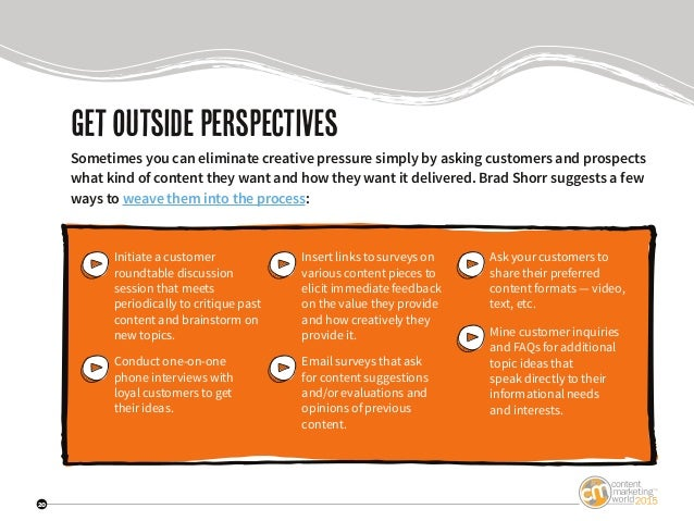 20 Getoutsideperspectives Sometimes you can eliminate creative pressure simply by asking customers and prospects what kind...