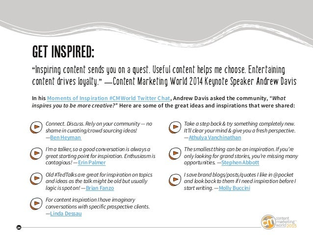 """24 getinspired: """"Inspiring content sends you on a quest. Useful content helps me choose. Entertaining content drives loyal..."""