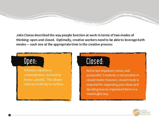 7 John Cleese described the way people function at work in terms of two modes of thinking: open and closed. Optimally, cre...