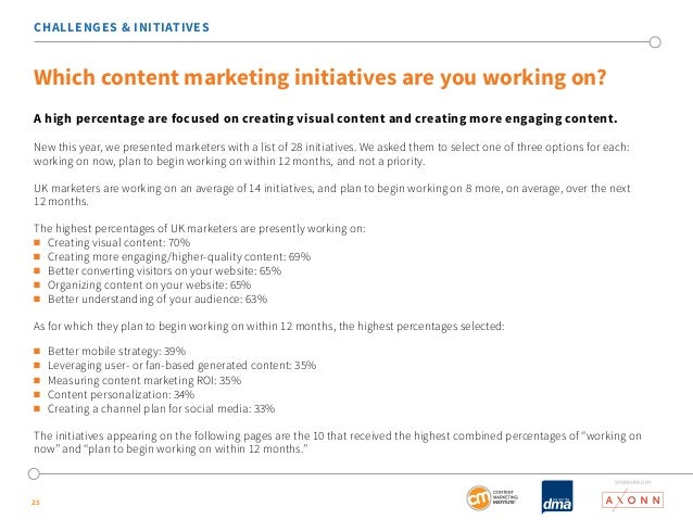 CHALLENGES & INITIATIVES  Which content marketing initiatives are you working on?  A high percentage are focused on creati...