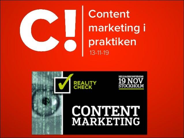 Content marketing i praktiken 13-11-19