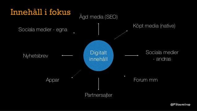 Innehåll i fokus Digitalt innehåll Nyhetsbrev Ägd media (SEO) Sociala medier - egna Appar Partnersajter Sociala medier - a...
