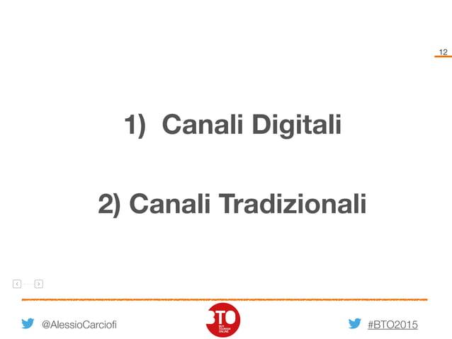 #BTO2015 12 @AlessioCarciofi 2) Canali Tradizionali 1) Canali Digitali