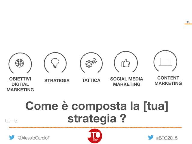 #BTO2015 15 @AlessioCarciofi OBIETTIVI DIGITAL MARKETING STRATEGIA TATTICA SOCIAL MEDIA MARKETING CONTENT MARKETING Come è...