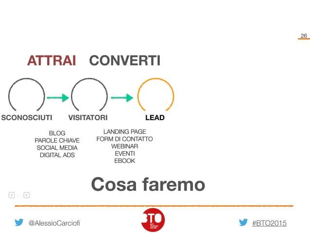 #BTO2015 26 @AlessioCarciofi Cosa faremo VISITATORISCONOSCIUTI LEAD ATTRAI CONVERTI BLOG PAROLE CHIAVE SOCIAL MEDIA DIGITA...