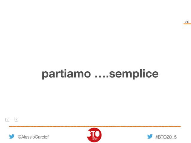 #BTO2015 30 @AlessioCarciofi partiamo ….semplice
