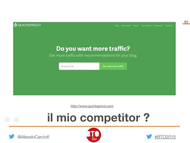 #BTO2015 63 @AlessioCarciofi il mio competitor ? http://www.quicksprout.com