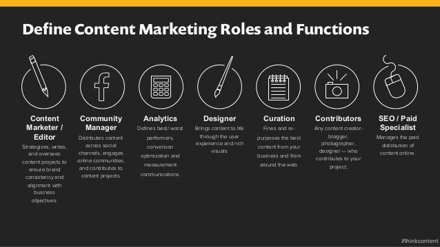 Define Content Marketing Roles and Functions Content Marketer / Editor Strategizes, writes, and oversees content projects t...