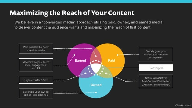 """Maximizing the Reach of Your Content We believe in a """"converged media"""" approach utilizing paid, owned, and earned media to..."""