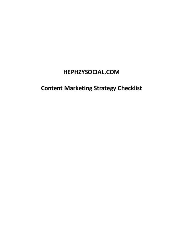HEPHZYSOCIAL.COM  Content Marketing Strategy Checklist