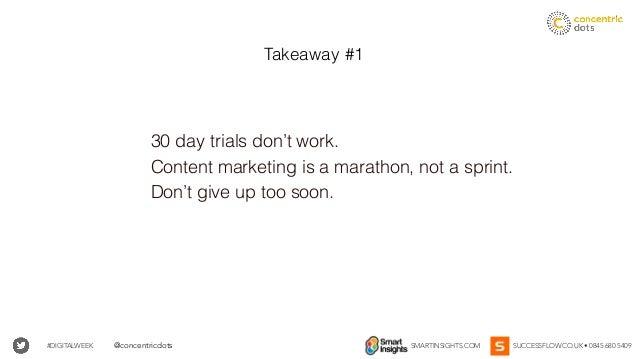 #DIGITALWEEK SMARTINSIGHTS.COM SUCCESSFLOW.CO.UK • 0845 680 5409@concentricdots 30 day trials don't work. Content marketin...