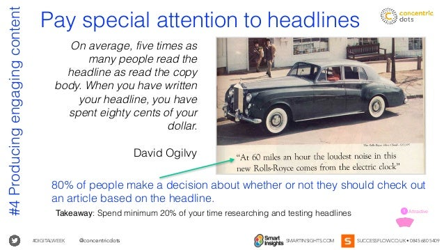 #DIGITALWEEK SMARTINSIGHTS.COM SUCCESSFLOW.CO.UK • 0845 680 5409@concentricdots Takeaway: Spend minimum 20% of your time r...