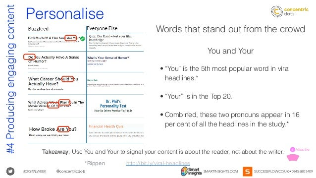 #DIGITALWEEK SMARTINSIGHTS.COM SUCCESSFLOW.CO.UK • 0845 680 5409@concentricdots Personalise Words that stand out from the ...