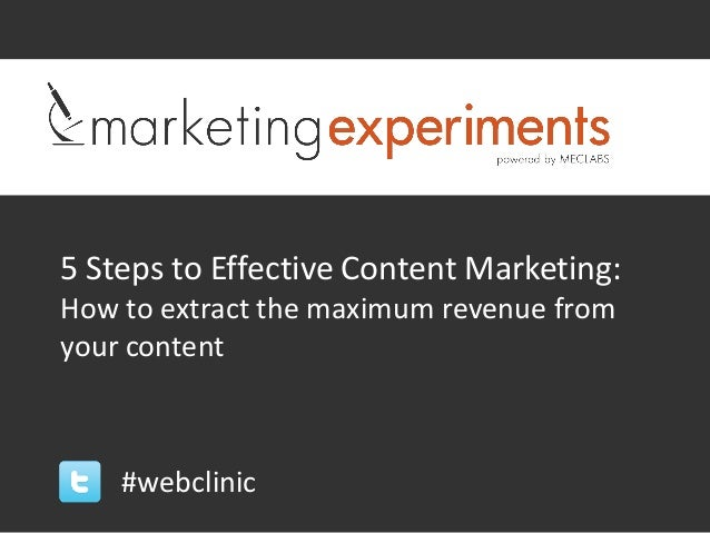 5 Steps to Effective Content Marketing:How to extract the maximum revenue fromyour content    #webclinic