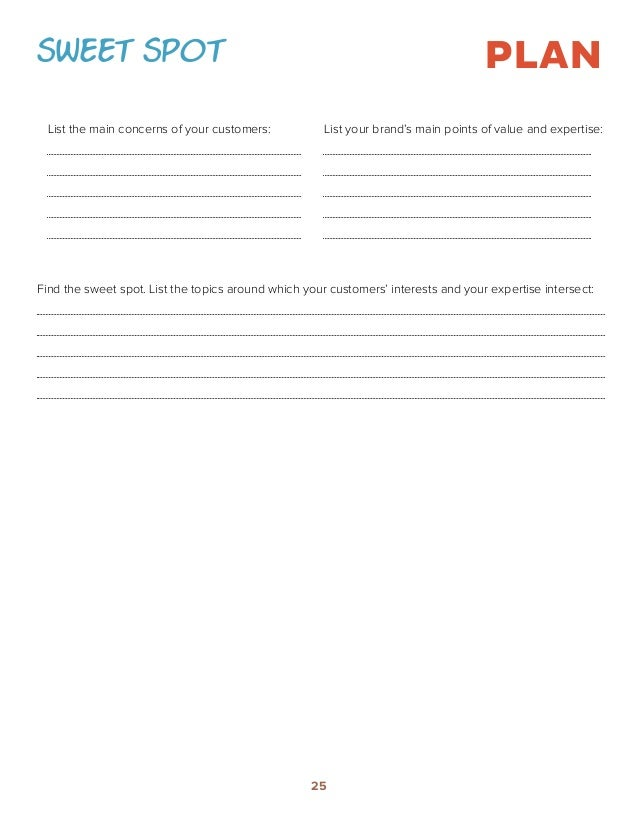 Printables Marketing Plan Worksheet how to build a content marketing strategy worksheets sweet spot plan list the main concerns of your customers brands points value and expertisefind spot