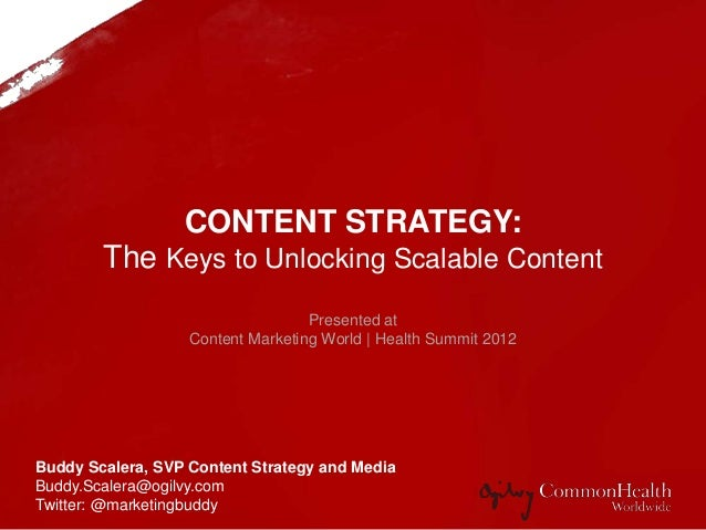CONTENT STRATEGY: Unlock the Keys to Scalable Content to Ensure a Resonate Online Consumer Message Buddy Scalera, SVP Cont...