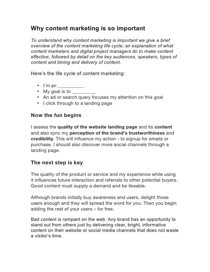Why content marketing is so importantTo understand why content marketing is important we give a briefoverview of the conte...