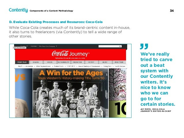 34Components of a Content Methodology While Coca-Cola creates much of its brand-centric content in-house, it also turns to...