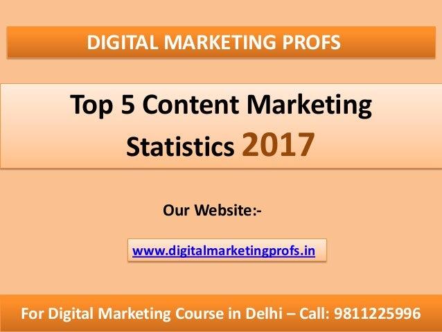 DIGITAL MARKETING PROFS Top 5 Content Marketing Statistics 2017 Our Website:- For Digital Marketing Course in Delhi – Call...