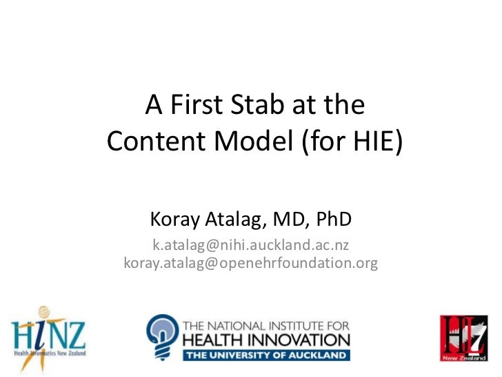 A First Stab at theContent Model (for HIE)    Koray Atalag, MD, PhD     k.atalag@nihi.auckland.ac.nz koray.atalag@openehrf...