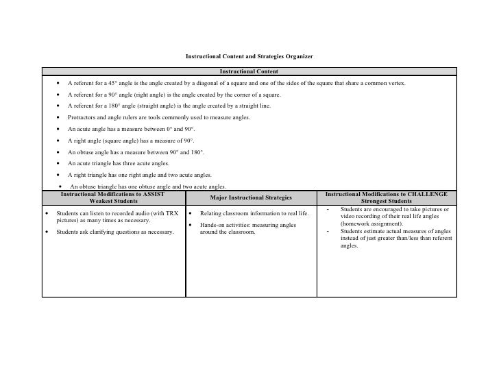 Instructional Content and Strategies Organizer                                                                       Instr...