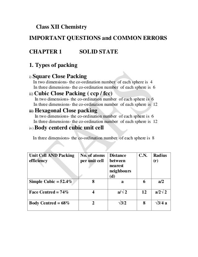 Class 12th Chemistry quick revision