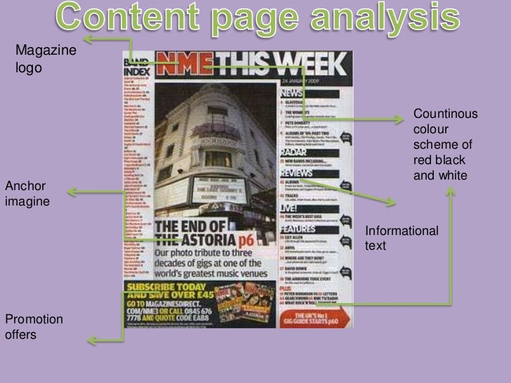 Content page analysis<br />Magazine logo<br />Countinous colour scheme of red black and white<br />Anchor imagine<br />Inf...