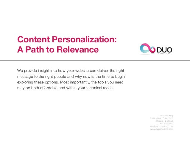 Content Personalization:A Path to Relevance                                                    DUO                        ...