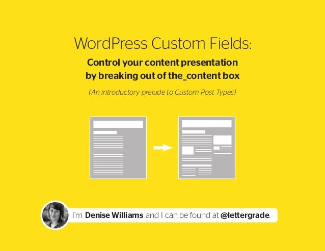 WordPress Custom Fields: Control your content presentation by breaking out of the_content box (An introductory prelude to ...