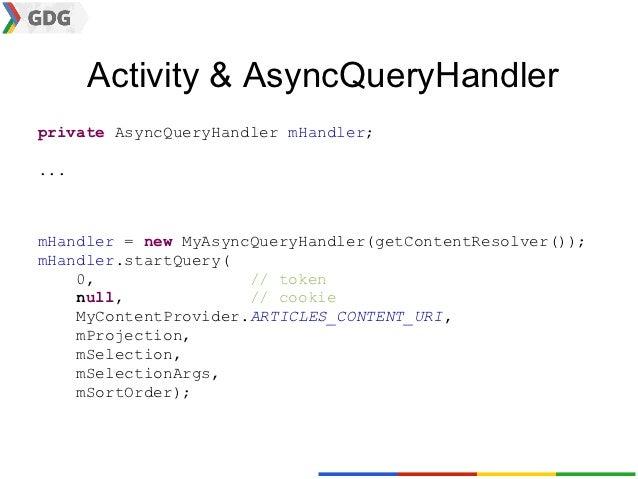 Activity & AsyncQueryHandlerprivate AsyncQueryHandler mHandler;...mHandler = new MyAsyncQueryHandler(getContentResolver())...