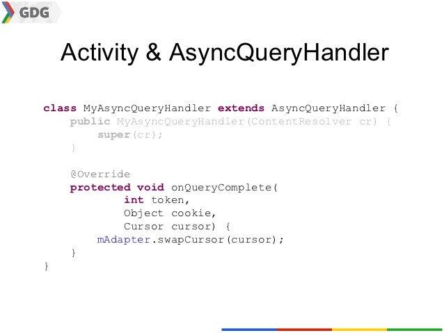 Activity & AsyncQueryHandlerclass MyAsyncQueryHandler extends AsyncQueryHandler {    public MyAsyncQueryHandler(ContentRes...