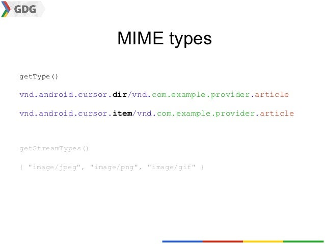 MIME typesgetType()vnd.android.cursor.dir/vnd.com.example.provider.articlevnd.android.cursor.item/vnd.com.example.provider...