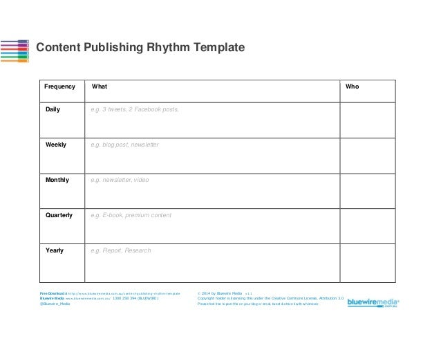 Content Publishing Rhythm Template  Frequency  What  Daily  e.g. 3 tweets, 2 Facebook posts,  Weekly  e.g. blog post, news...