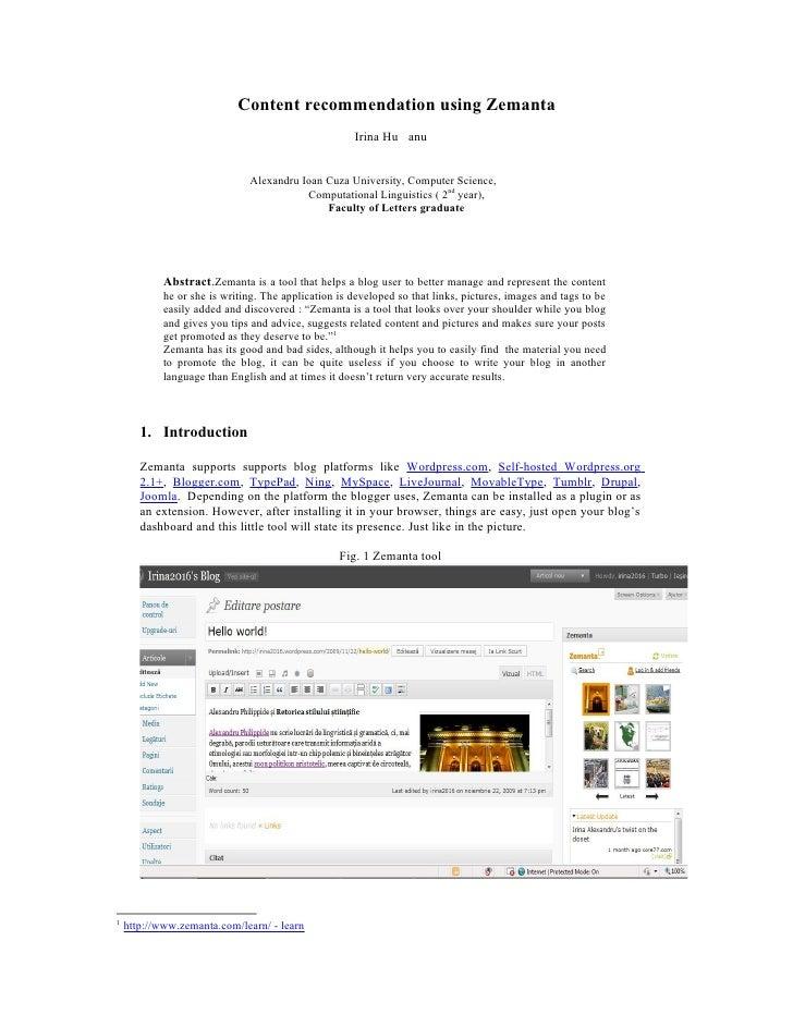 Content recommendation using Zemanta                                                      Irina Hu anu                    ...