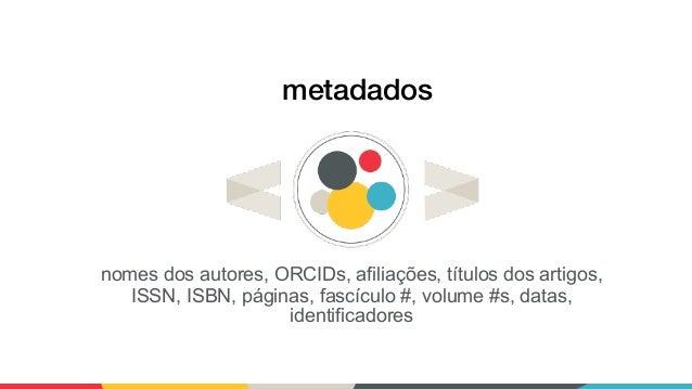 metadados nomes dos autores, ORCIDs, afiliações, títulos dos artigos, ISSN, ISBN, páginas, fascículo #, volume #s, datas, ...