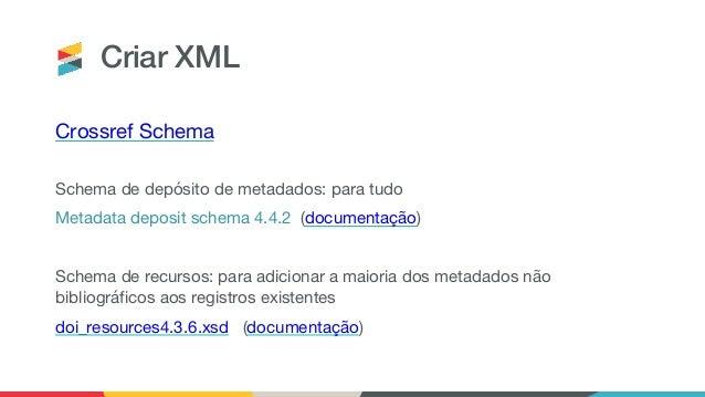 Criar XML Crossref Schema Schema de depósito de metadados: para tudo Metadata deposit schema 4.4.2 (documentação) Schema d...
