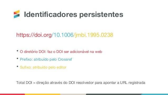 Identificadores persistentes https://doi.org/10.1006/jmbi.1995.0238 • O diretório DOI: faz o DOI ser adicionável na web • ...