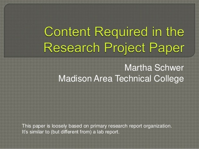 Content area reading research paper