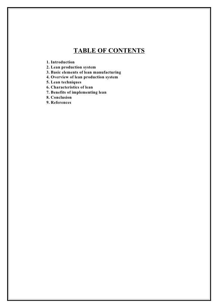 TABLE OF CONTENTS 1. Introduction 2. Lean production system 3. Basic elements of lean manufacturing 4. Overview of lean pr...
