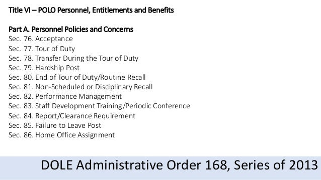 DOLE Administrative Order 168, series of 2013