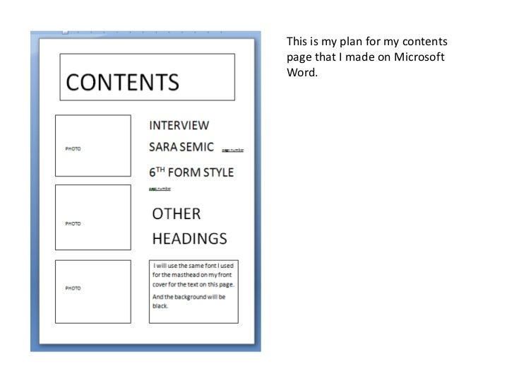 This is my plan for my contentspage that I made on MicrosoftWord.